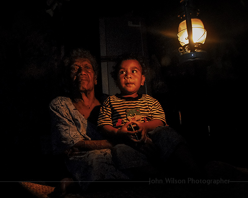 Fiji squatter Grand mother and grandson
