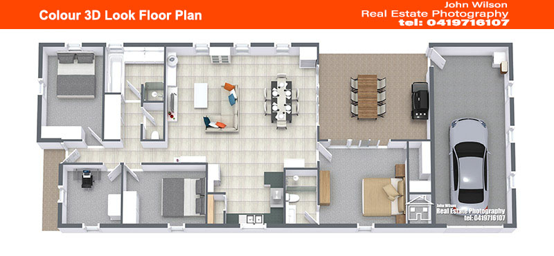 Colour 3D Look Floor Plan