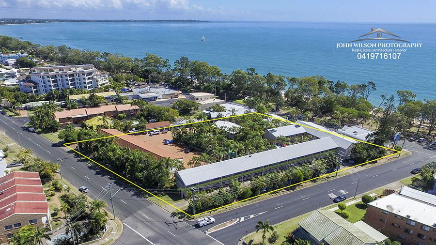 Aerial photography Hervey Bay Beach Hotel