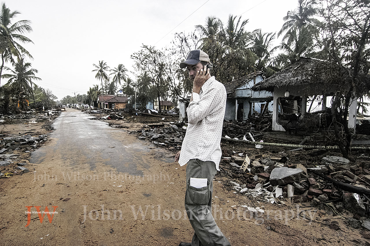 reporter Michael Mckenna at Aragun Bay Sri lanka after the 2004 tsunami