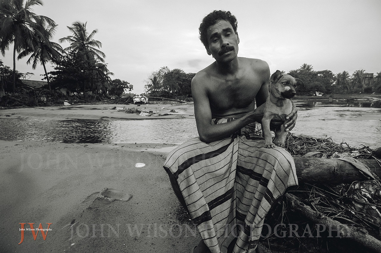 Tsunami survivor at Aragum Bay Sri Lanka