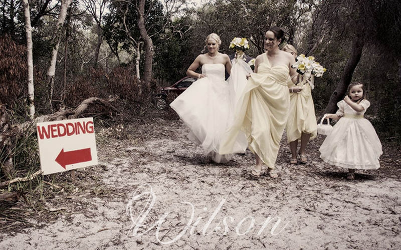 bride and bridesmaids fraser island